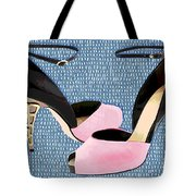 Pink Patent Leather With Sculpted Metal Heels Tote Bag