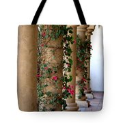 Pink Peacock Colored Bougainvillea Blossoms Climbing Pillars Photograph By Colleen Tote Bag