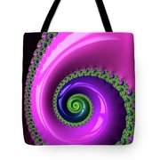 Pink Purple And Green Fractal Spiral Tote Bag