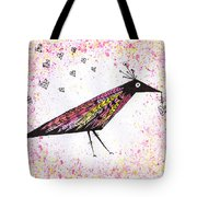 Pink Raven With Heart Tote Bag
