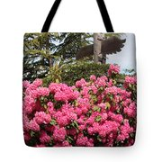 Pink Rhododendrons With Totem Pole Tote Bag
