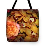 Pink Rose And Yellow Orchids Tote Bag