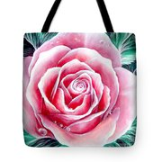 Pink Rose Flower Tote Bag