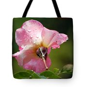 Pink Rose In The Rain 2 Tote Bag