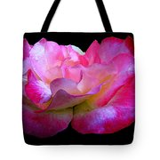 Pink Rose On Black 4 Tote Bag