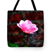 Pink Rose On Red Brick Wall Tote Bag