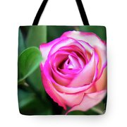 Pink Rose With Leaves Tote Bag