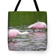 Pink Roseate Spoonbills Feeding Tote Bag