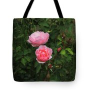 Pink Roses In A Garden Tote Bag