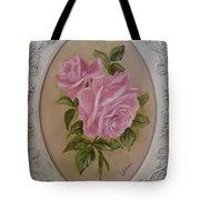Pink Roses Oval Framed Tote Bag