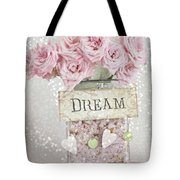 Shabby Chic Dreamy Pink Roses - Cottage Chic Pink Romantic Roses In Jar  - Dream Roses Tote Bag