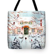 Pink Snow House Tote Bag