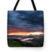 Pink Sunrise And Blue Clouds In The Mountains Of Kamnik Savinja  Tote Bag