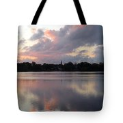 Pink Sunrise With Dramatic Clouds And Steeple On Jamaica Pond Tote Bag