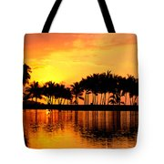 Pink Sunset And Palms Tote Bag