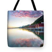 Pink Sunset Over A Lagoon In Norway Tote Bag