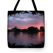 Pink Sunset Panorama With Black Framing Tote Bag