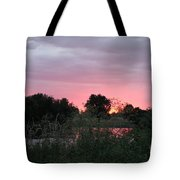 Pink Sunset With Green Riverbank Tote Bag
