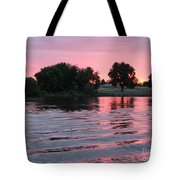 Pink Sunset With Soft Waves Tote Bag