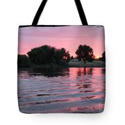 Pink Sunset With Soft Waves In Black Framing Tote Bag