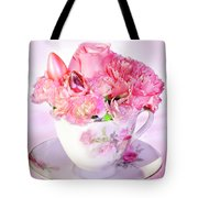 Pink Teacup Bouquet Tote Bag