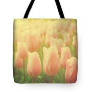 Pink Tulip Flowers In The Garden On Sunny Day In Spring Tote Bag