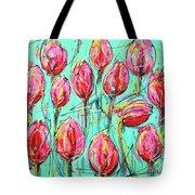 Pink Tulip, Turquoise Tote Bag