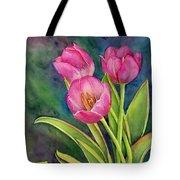 Pink Tulip Twist Tote Bag