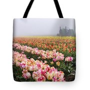 Pink Tulips And Tractor Tote Bag