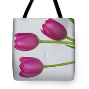 Pink Tulips And White Brick Wall Tote Bag