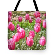 Pink Tulips By Peaceful Pond Tote Bag