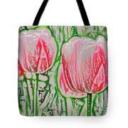 Pink Tulips With Block Effect Tote Bag