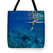 Pink & Yellow Surfboard Tote Bag