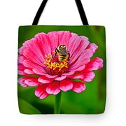 Pink Zinnia Bee Tote Bag