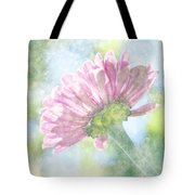 Pink Zinnia On Bokeh Background Tote Bag