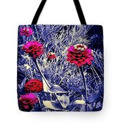 Pink Zinnia's Against A Silver Background Tote Bag