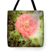 Pinkish Orange Zinnia On Green Background Tote Bag