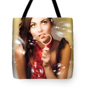 Pinup Girl Blowing Love Kiss. American Retro Style Tote Bag