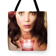 Pinup Poster Girl Drinking At Retro Cocktail Party Tote Bag
