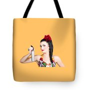 Pinup Woman Holding A Cleaning Spray Bottle Tote Bag