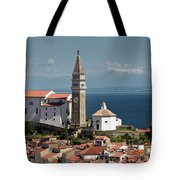 Piran Slovenia With St George's Cathedral Belfry And Baptistery  Tote Bag