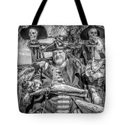 Pirate Captain And Parrots Black And White Tote Bag