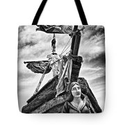 Pirate Ship And Black Flag Tote Bag by Garry Gay