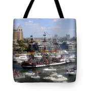 Pirate Ship And Flotilla Tote Bag