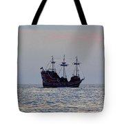Pirate Ship At Sunset Tote Bag