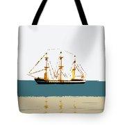 Pirate Ship On The Horizon Tote Bag