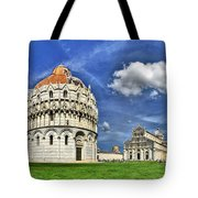 Pisa - Baptistry Duomo And Leaning Tower Tote Bag