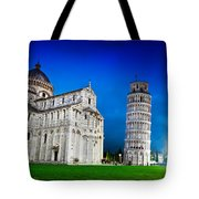 Pisa Cathedral With The Leaning Tower Of Pisa, Tuscany, Italy At Night Tote Bag
