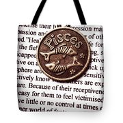 Pisces In A Sea Of Text Tote Bag