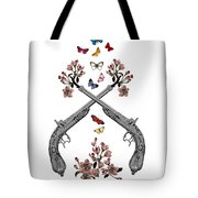 Pistols Wit Flowers And Butterflies Tote Bag